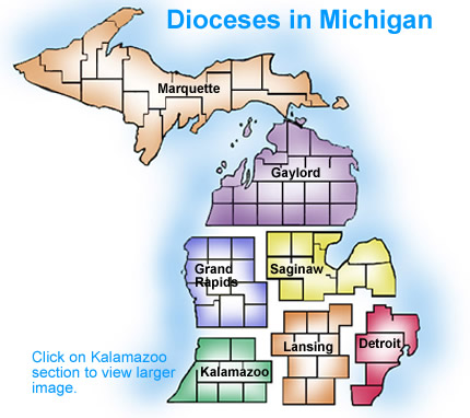 Diocesan Map Diocese Of Kalamazoo Kalamazoo MI - Us catholic diocese map